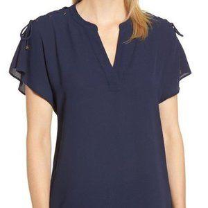Michael Kors Womens Short Sleeve Lace Shoulder Top